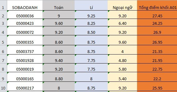 Top 10 thí sinh có điểm cao nhất khối A01 của Hà Giang, đây là khối thi duy nhất tỉnh này có thí sinh được từ 27 điểm trở lên. Ảnh số liệu: Giang Thanh