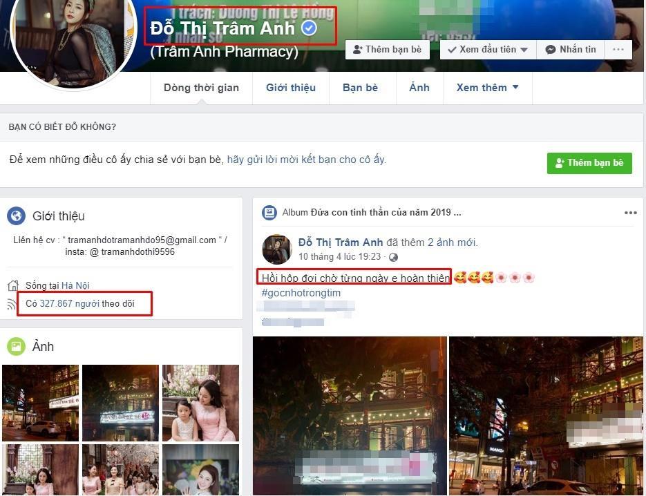 Facebook Trâm Anh đã được tự động cấp nút tick xanh.