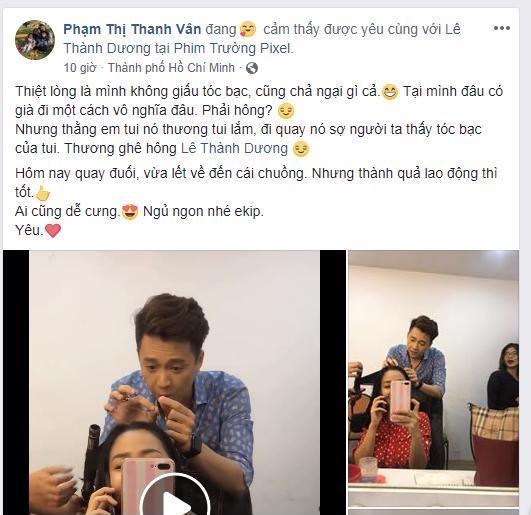 Ốc Thanh Vân cảm động vì được Ngô Kiến Huy nhổ tóc bạc giúp – Ảnh: FBNV