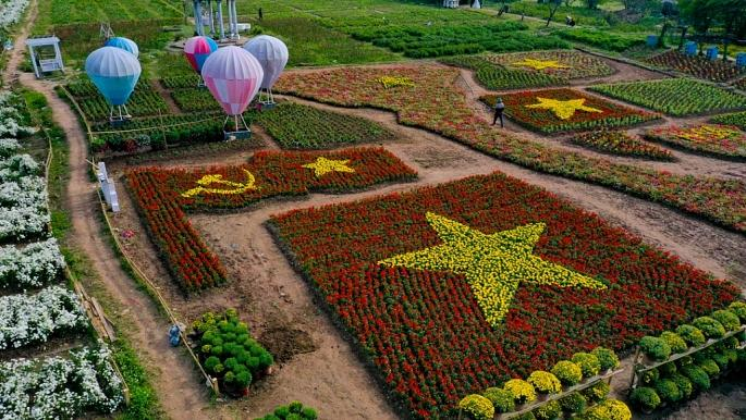 Hình ảnh lá Quốc kỳ và Đảng kỳ với màu đỏ của lá cờ được tạo hình từ hoa xác pháo, sao vàng và búa liềm được tạo hình từ hoa cúc mâm xôi.