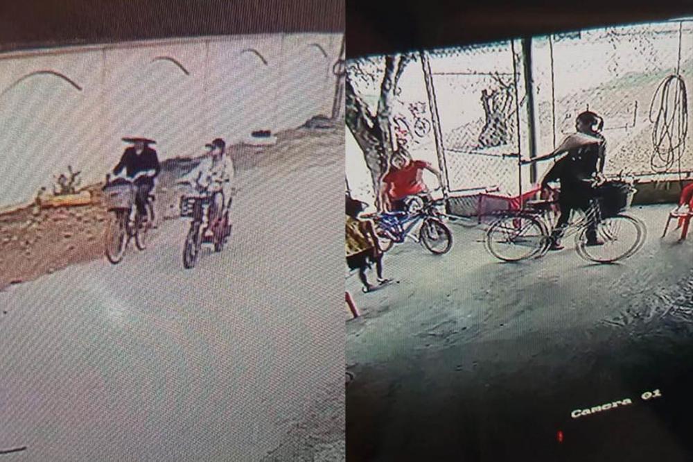 Camera ở gần hiện trường ghi lại cảnh hai bà cháu đi xe đạp trước thời điểm cháu T. mất tích