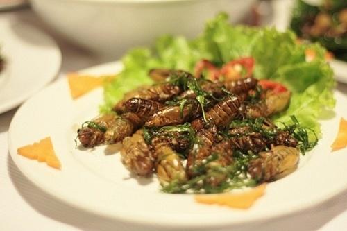 Không cần sang Thái Lan hay Campuchia, về miền Tây là cũng được thử món côn trùng chiên. Ảnh Ngoisao
