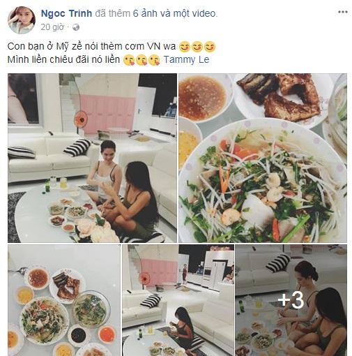 Ngọc Trinh vô cùng hiếu khách và vui vẻ chuẩn bị một bữa ăn đậm chất Việt Nam cho cô bạn mới từ nước ngoài về - Ảnh: FBNV