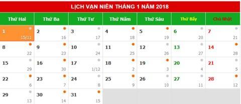 Tết dương lịch 2018 năm nay rơi đúng vào ngày thứ hai đầu tuần nên sẽ được nghỉ 3 ngày liền đối với cán bộ, công chức, viên chức và người lao động có chế độ 02 ngày nghỉ/tuần (ngày Thứ 7 và Chủ nhật).