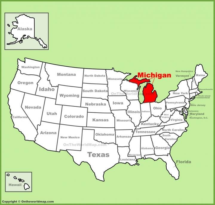 Ví trí tiểu bang tiểu bang Michigan của Mỹ.