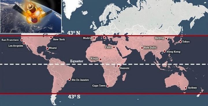 Khu vực cảnh báo có thể bị ảnh hưởng bới trạm Thiên Cung rơi xuống trái đất