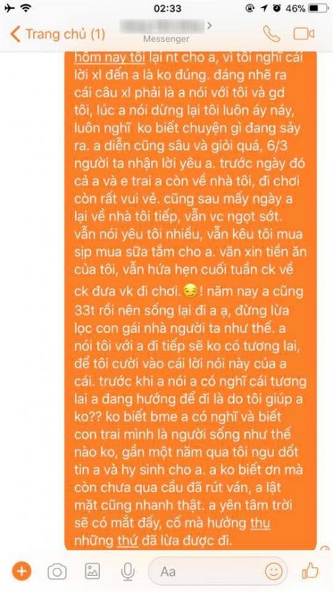 Tin nhắn của T. gửi cho D. sau khi biết tin D. sắp cưới