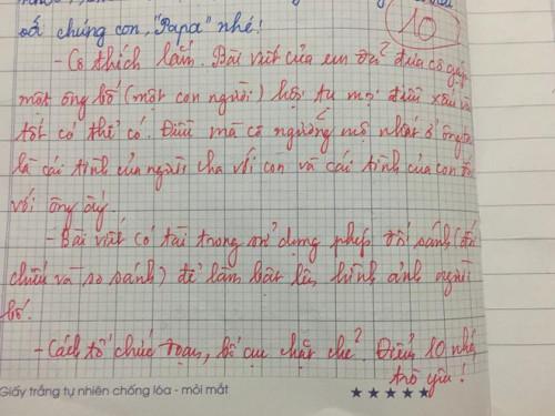 Bài văn tả về người cha của bé gái lớp 5 nhận điểm 10 kèm những lời nhận xét khen ngợi của cô giáo