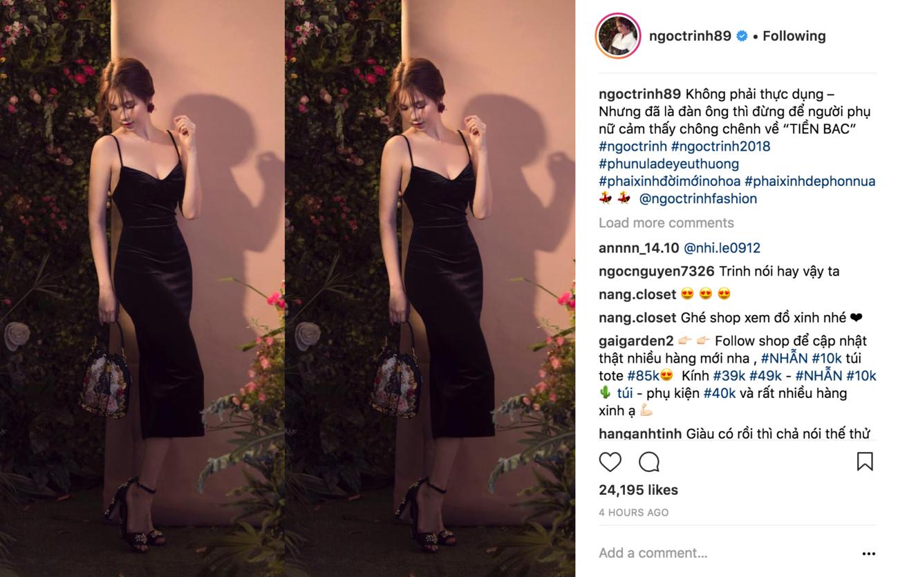 Ngọc Trinh tiếp tục có thêm châm ngôn mới về tiền bạc (Ảnh: Instagram)