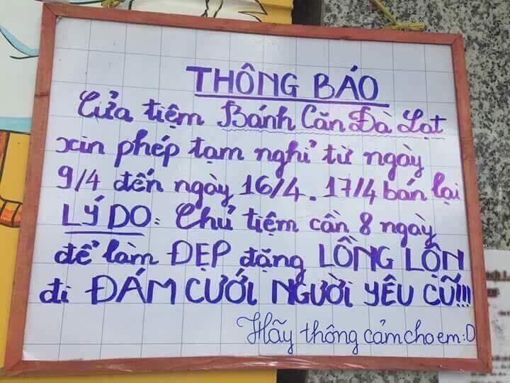 Hình ảnh tấm bảng thông báo tạm nghỉ của anh chủ quán bánh căn gây sốt cộng đồng mạng - Ảnh: FB BCCT
