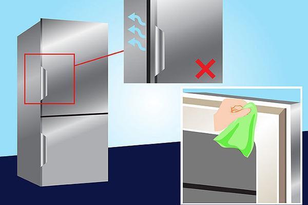 Hãy thường xuyên kiểm tra cánh cửa tủ lạnh và phần đệm cao su để tránh tình trạng đóng không kín,
