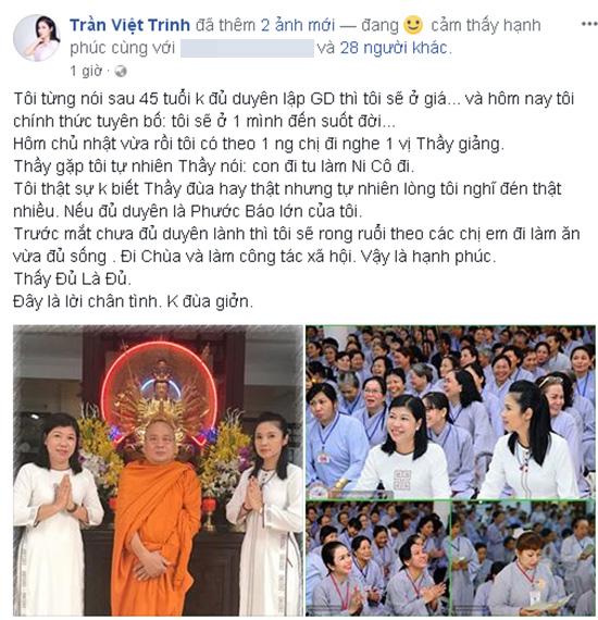 Việt Trinh chính thức tuyên bố: