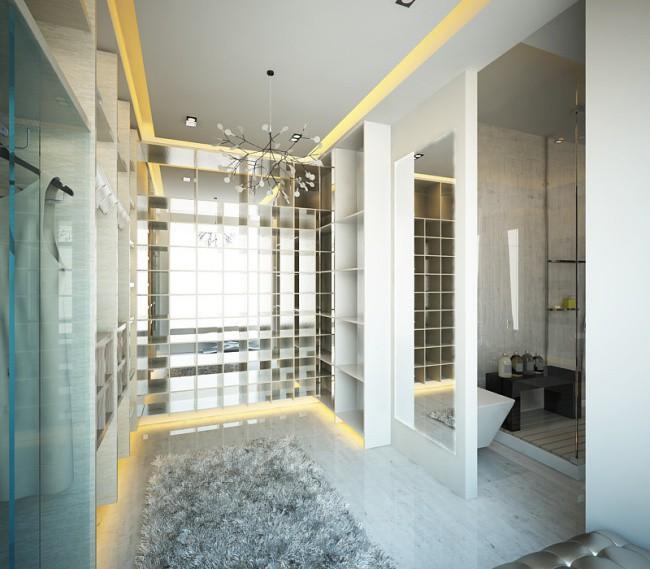 Phòng tắm hiện đại với bảng màu trung tính cùng nội thất, vật dụng hiện đại.