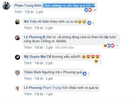 Lê Phương ngại ngùng trước lời nịnh đầm của Trung Kiên - Ảnh: FBNV