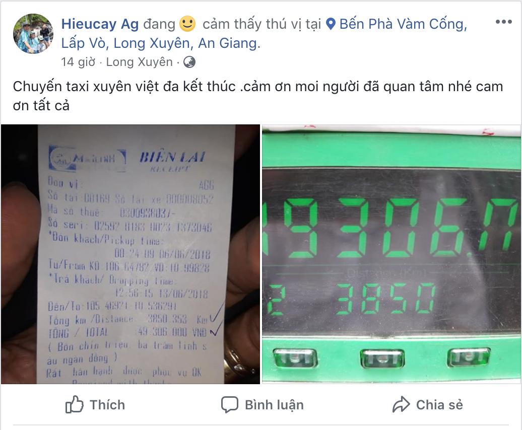 Dòng trạng thái đầy hào hứng về chuyến đi kỷ lục của người tài xế taxi (Facebook Hieucay Ag)