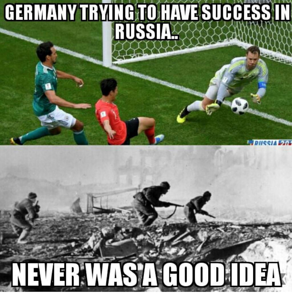 Nhiều người hâm mộ còn lo xa khi nghĩ Đức sẽ khơi mào chiến tranh thế giới thứ 3 như hồi bị loại ở chung kết World Cup năm 1938.