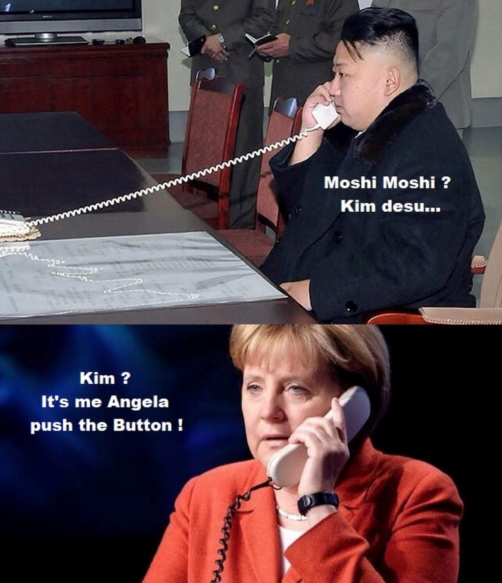 Kim: Alo, Un nghe!  -   Angela: Là tôi. Nhấn nút hủy Hàn Quốc đi!
