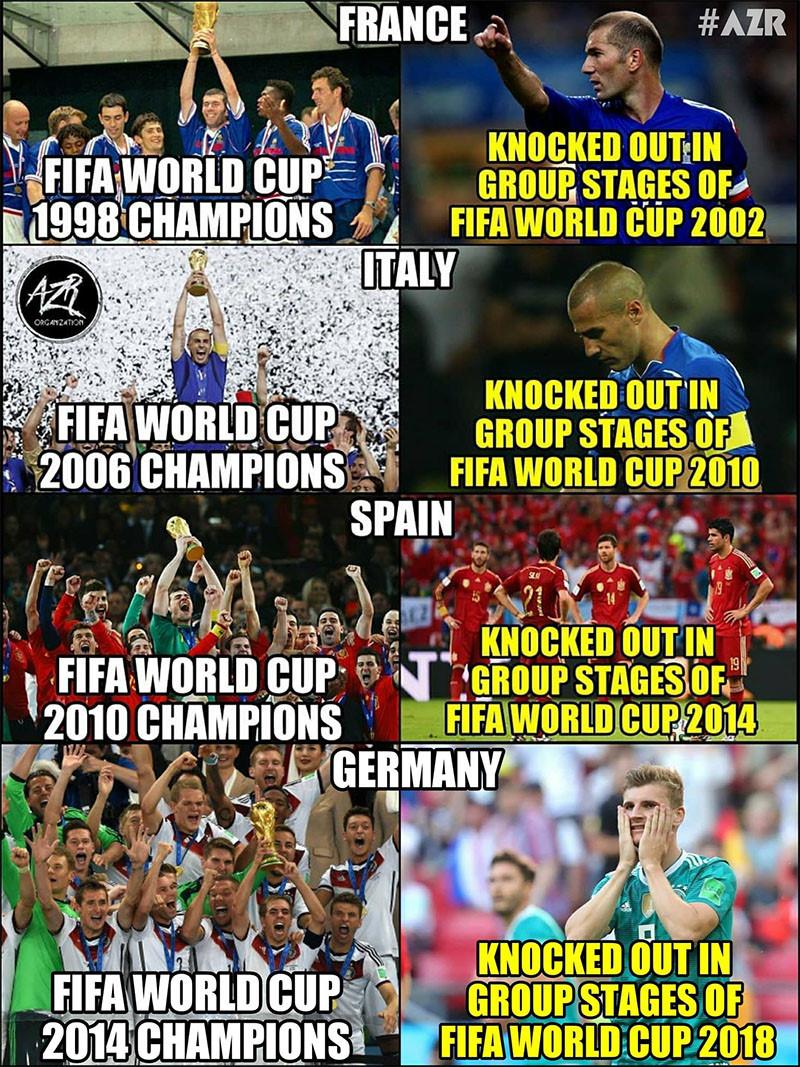 Trước Đức, trong vòng 20 năm qua đã có 3 nhà Đương kim vô địch khác bị loại từ vòng bảng ở kì World Cup tiếp theo.