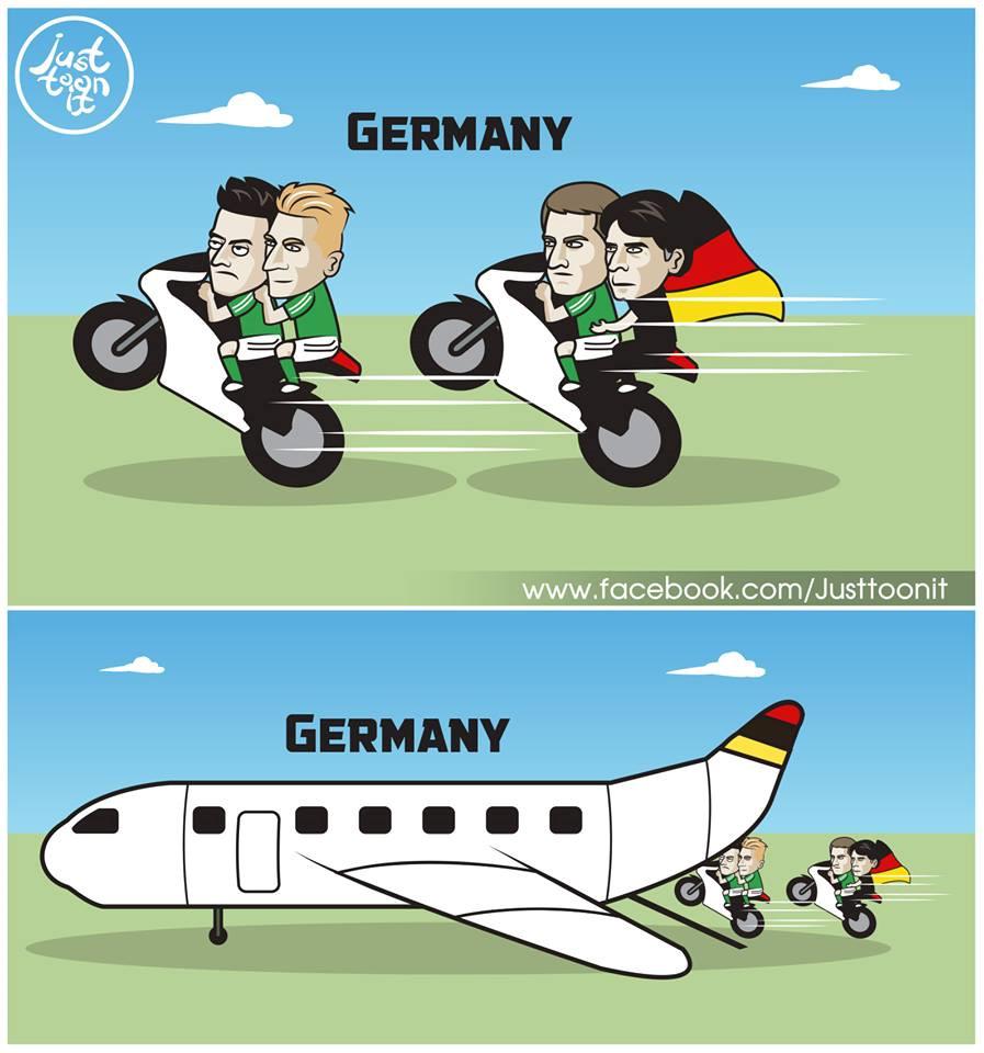 Cầu thủ Đức và huấn luyện viên Loew phóng moto đuổi theo chỉ để bắt kịp chuyến bay… về nước