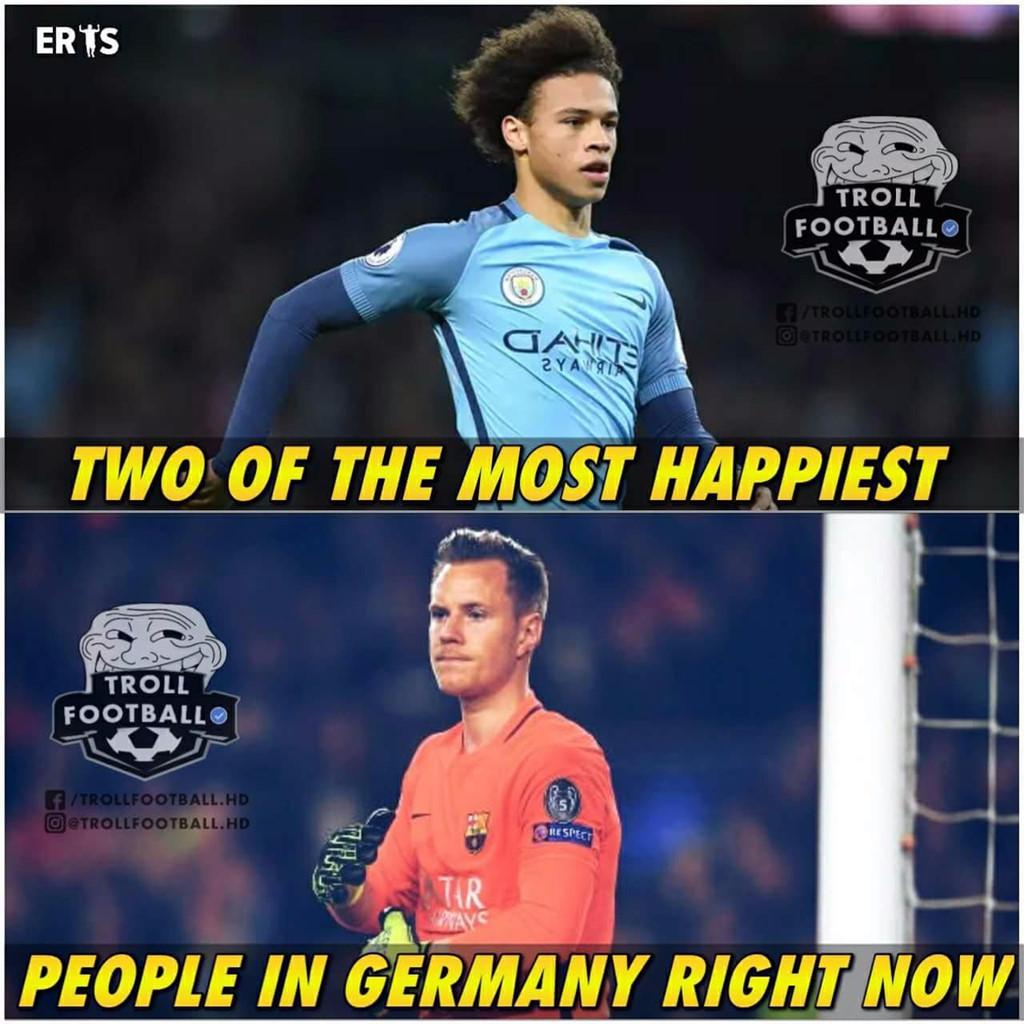 Leroy Sane và Ter Stegen, hai cầu thủ không có cơ hội tại World Cup 2018 không biết đang buồn hay vui với kết quả này.