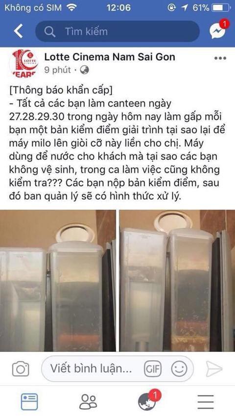 Hình ảnh chiếc máy pha sữa có giòi lan truyền trên mạng xã hội cho thấy công tác bảo đảm an toàn thực phẩm tại căn tin rạp phim có vấn đề (ảnh trên mạng)