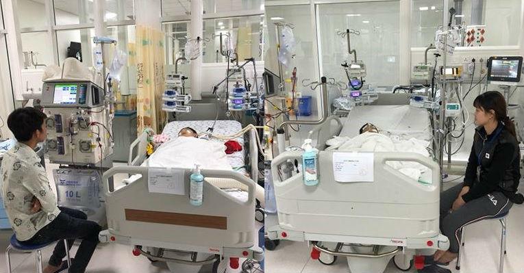 2 bé trai đang được cấp cứu ở bệnh viện nhi đồng thành phố