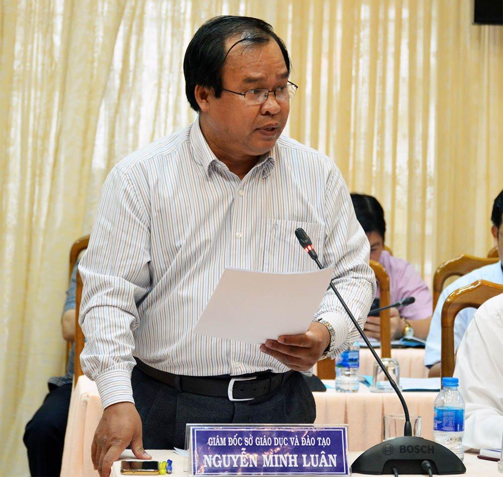 Giám đốc Sở GD&ĐT tỉnh Cà Mau Nguyễn Minh Luân phát biểu tại cuộc họp