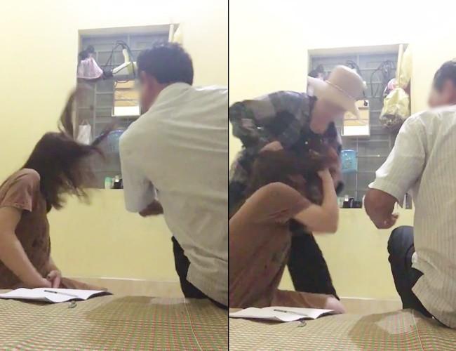 Người chú và mẹ chồng đã ra tay đánh dằn mặt cô nhân tình ngay sau khi ngồi nói chuyện để giải quyết sự việc. Ảnh cắt từ clip
