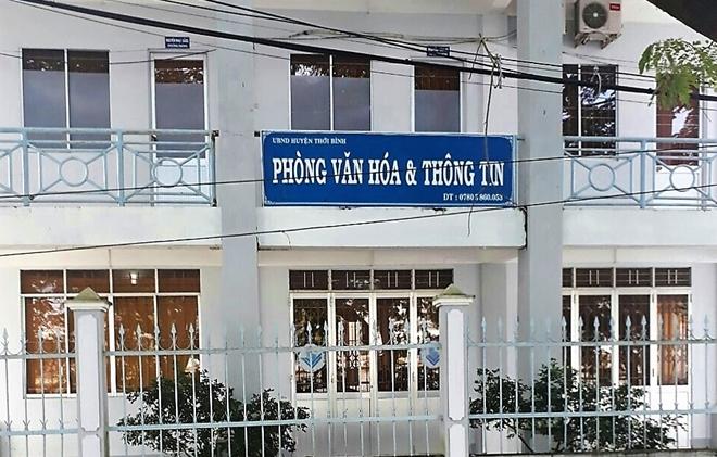 Phòng VH-TT huyện Thới Bình, nơi ông Bằng làm Trưởng phòng.