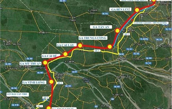 Một sơ đồ thể hiện tuyến đường sắt và các nhà ga.