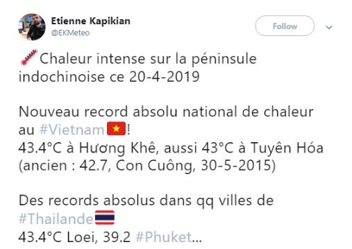 Bài đăng trên Twitter của nhà khí tượng Etienne Kapikian.