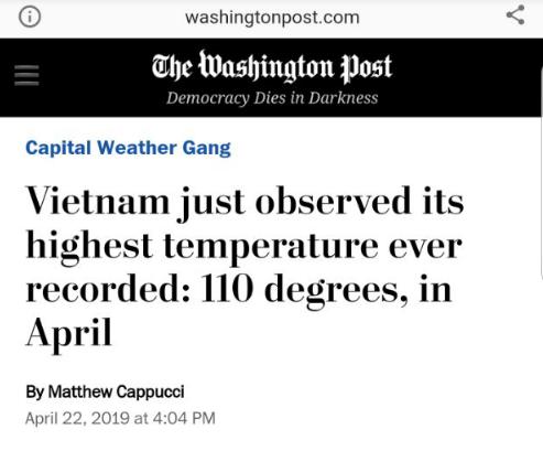 Tờ The Washington Post đưa tin về đợt nóng gay gắt tại Việt Nam.