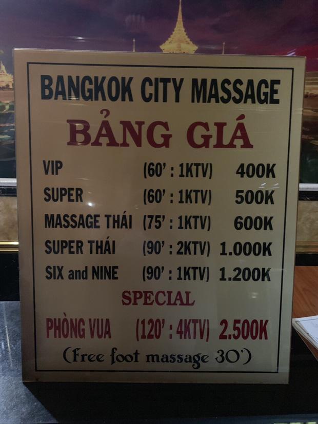 Mức giá quy định ở cơ sở massage.
