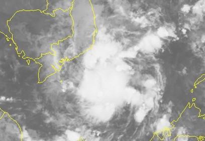 Hình ảnh vệ tinh của áp thấp nhiệt đới. Ảnh: NCHMF.