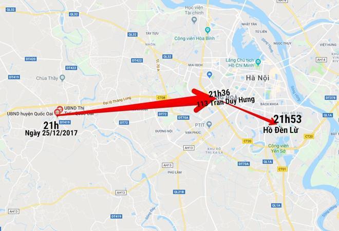 Các địa điểm di chuyển của ông Lâm trước khi mất tích. Ảnh: Google Maps.