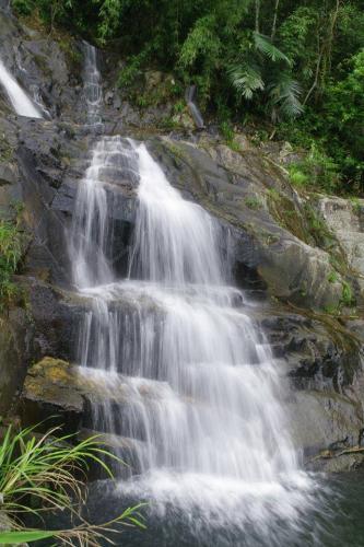 Dòng nước trên cao đổ xuống trắng xóa, cảnh tượng đẹp đến mơ màng ( Nguồn: Ảnh Phượt Review )