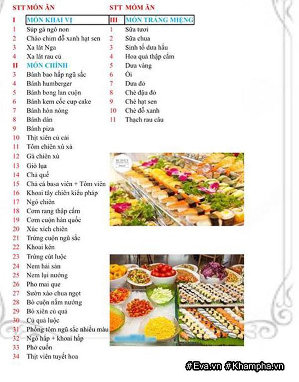 Thực đơn buffet được lên rất chi tiết và phong phú.