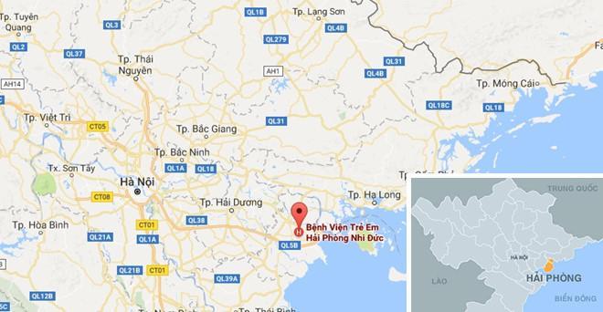 Hai bé bị ngộ độc được Bệnh viện trẻ em Hải Phòng cấp cứu. Ảnh: Google Map.