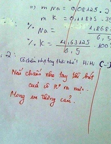 Chỉ trách cái bút không ra mực của cô mà em không không được chấm nhẹ tay.
