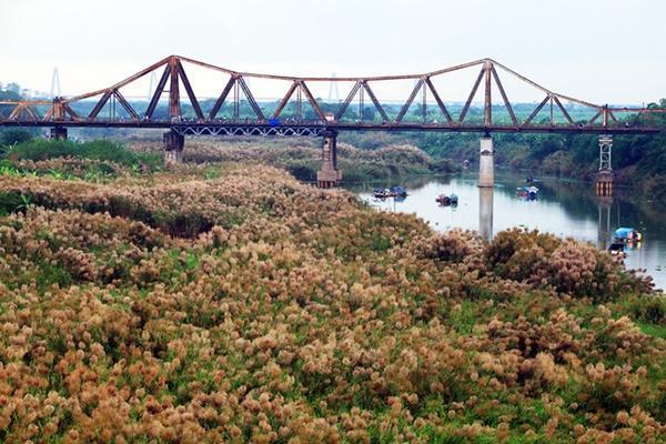 Có hai địa điểm được nhiều người tìm đến chụp ảnh là bãi đá sông Hồng và dưới chân cầu Long Biên (bãi Giữa). (Ảnh: Mytour)