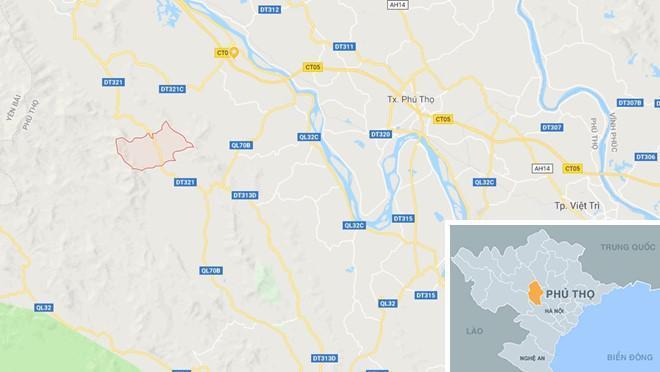 Xã Xuân Thủy, huyện Yên Lập (ô đỏ) nơi xảy ra vụ án. Ảnh: Google Maps.