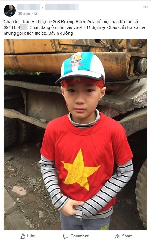 Hình ảnh và thông tin của bé trai được người dân đăng tải trên Facebook - Ảnh chụp màn hình.