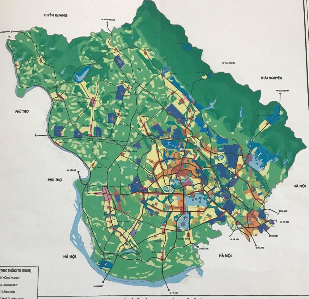 Bản đồ điều chỉnh quy hoạch sử dụng đất tỉnh Vĩnh Phúc.
