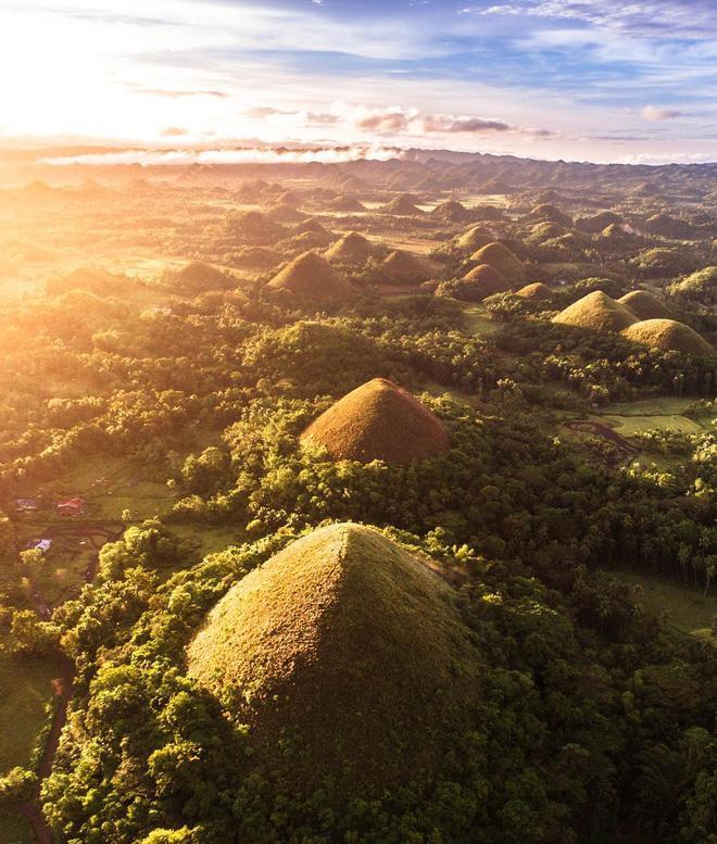 Những ngọn đồi Chocolate được coi là tượng đài thiên nhiên sống động nhất của đảo Bohol, Philippines. Vào mùa khô, những ngọn đồi nhấp nhô và đều tăm tắp này ngả sang màu nâu nhạt, trông chẳng khác gì những viên kẹo chocolate ngon lành trong hộp.