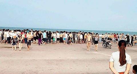 Bãi biển nơi vợ chồng chị T. gặp nạn