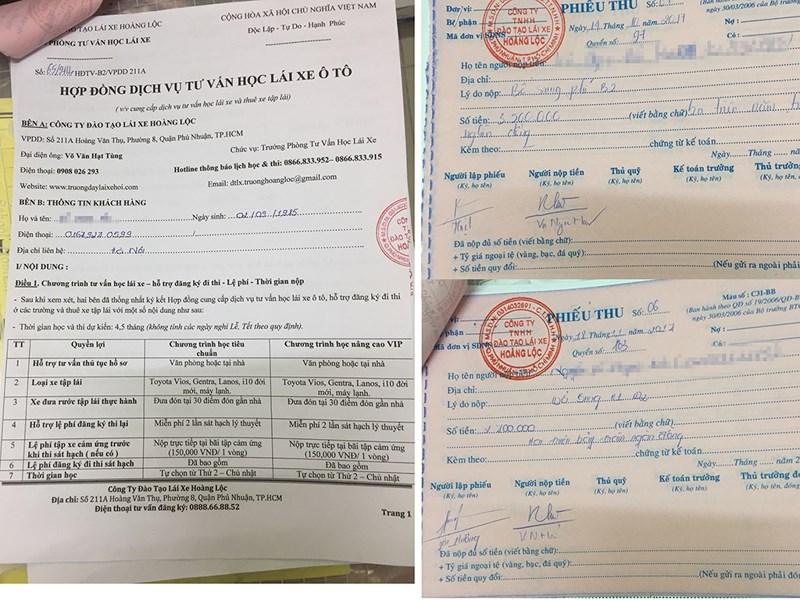 Mặc dù từng bị thanh tra Sở GTVT kiểm tra yêu cầu Công an phường 8 xử lý nhưng sau đó Công ty Hoàng Lộc vẫn nhận hồ sơ, thu tiền của người dân có nhu cầu học bằng lái. Ảnh Nguyễn Tân.