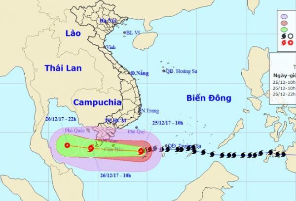 Vị trí và hướng di chuyển của bão số 16 – Tembin (Ảnh: Trung tâm Dự báo KTTVTƯ)