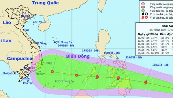 Bão Sanba di chuyển nhanh, hướng vào vùng biển phía Nam Biển Đông của nước ta. Ảnh: NCHMF