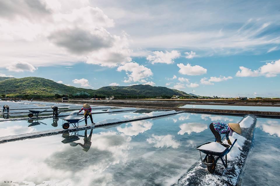Hình ảnh người nông dân đang chăm chút cho từng vụ muối.
