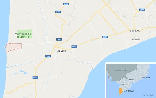 Xã Khánh Bình Tây (màu đỏ) ở Cà Mau. Ảnh: Google Maps.